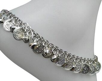 Ringing Anklet - Ankle bracelet Silver bell and coin charm anklet  jingle bell anklet, coin anklet, gypsy anklet