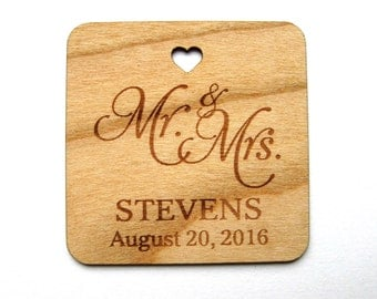 Mr & Mrs tag , Thank You Wedding Tags , Gift Tags, Wedding Favor Tags, Wood Tags, Shower Favor Tags, Wood Hang Tags, Personalised tags