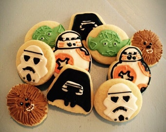 SALE-Starwars Sugar Cookie Favors-Kylo Ren-BB8-Chewbacca-Yoda-storm trooper-Statwars birthday favors