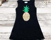 Girls Dress. Pineapple Tank. Sparkle Dress. Pom Pom Dress. Girls Birthday Gift. Take Home Outfit. Beach Babe. Boho Baby. Pineapple. Sequin