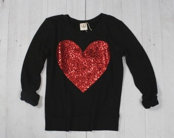 Valentines Day Shirt Top Red Sequin Heart Sweatshirt Jumper  -  Sequin Heart Sweatshirt Holiday Gift Ideas Teen Girls Womens Plus Size