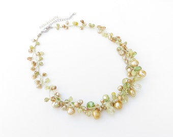 Green gold necklace with freshwater pearl, crystal and stone on silk thread, Green yellow necklace, short