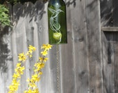 Hummingbird Feather Wine Bottle Windchime - Chime Repurposed Windcatcher Bottle Etching Rememberance Wedding Shower Outdoor Decor