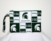 Michigan State Spartans Pouch Wristlet or Crossbody Bag n iPod Smart Phone Bag Digital Camera Bag