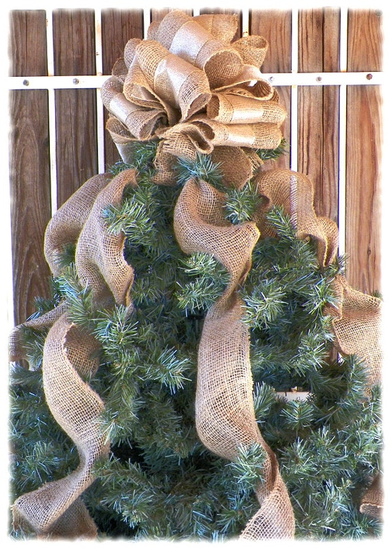 Gold Tree Topper - Burlap Tree Topper, Gold Bow Topper, Burlap Topper, Christmas Tree Garland, Holiday Decorations, Christmas Tree Topper