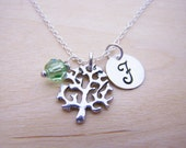 Tree Charm Necklace -  Swarovski Birthstone Initial Personalized Sterling Silver Necklace / Gift for Her - Tree Charm