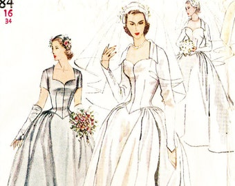 Wedding Dress Sewing Pattern Simplicity 4084 Vintage 1950s Bridal Gown, Hat, Veil, Mitts Size 16