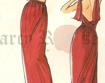 RARE Vogue 1641 Retro 1970s Misses' Infinity Style Dress/Skirt with Wrap Tie Straps Sewing Pattern Sz M
