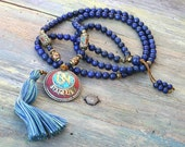 Beautiful lapis lazuli gemstone mala necklace