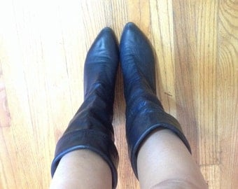 Vintage Black Leather Slouch Boot  Sz 8 1/2