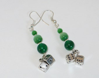 Lucky dice, money green catseye bead earrings.