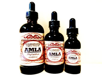 Organic AMLA Tincture - 1oz, 2oz, 4oz - Phyllanthus emblica Herbal Extract, Ayurveda, fair trade, kosher, gluten-free, non-GMO