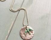 Silver Moon Necklace with Verdigris Bird - Custom Chain Length