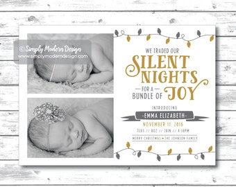 Birth Announcement, Holiday, Christmas birth announcement, traded silent nights for a bundle of joy, new baby, PRINTABLE or PRINTED CARDS