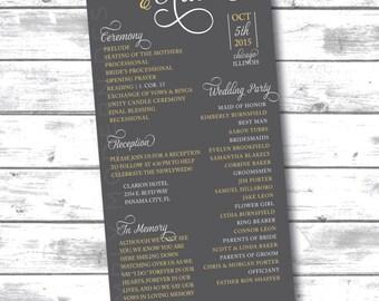 wedding ceremony program, modern, hearts, PRINTABLE