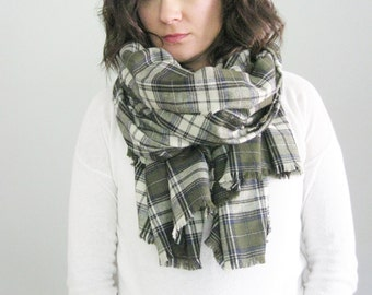 Plaid Pashmina Autumn Blanket Scarf, Fall Plaid Scarf, Plaid Blanket Scarf, Blanket Scarf Green