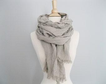Neutral Summer Blanket Scarf | Lightweight Scarf | Summer Linen Scarf | Linen Blanket Scarf with Fringe | Trending Items