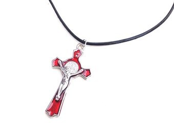 Crucifix pendant Jesus religious religion gothic blood red black cord cross crucification goth jewelry pendant