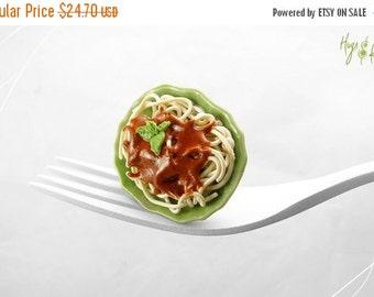SALE - Spaghetti Napoletana Ring, Italian Food Ring, Miniature Food Jewelry, Italian Pasta Ring, Mediterranean Food, Spaghetti Ring,Pasta Ri