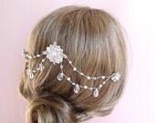 Crystal bridal hair chain, headpiece, wedding hair accessories crystal, wedding hair piece,  pearls & teardrop crystals on wire Style 318