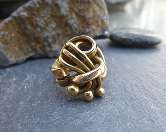 Bronze Ring Vintage 60s 70s Ring Gold Ring Brass Ring Hand Forged Ring Size 6 Ring