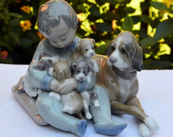 Vintage Lladro Boy Puppies, Mother Dog - New Playmates, # 5456 Retired, Spain - 1987 - Fabulous!