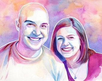 COUPLE CUSTOM PORTRAIT, watercolor painting, commission painting, wedding anniversary gift, art commission, special custom gift for wife