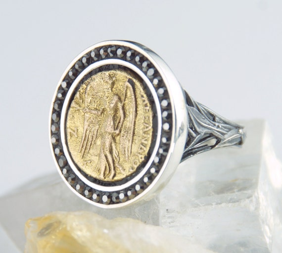 gold coin ring nike goddess of victory 18k by