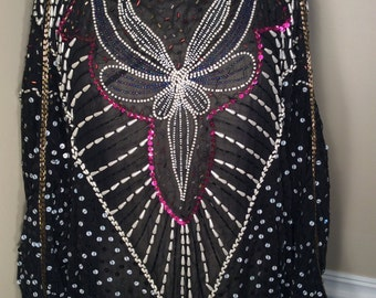 Stunning Vintage OOAK Elegant Detailed Beaded Flapper Style Sheath  Dress size s/m