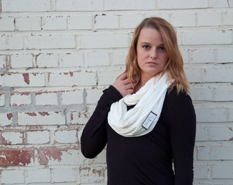 White Pintuck Jersey Infinity Scarf