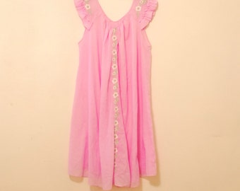 Pink Nightgown with Floral Applique - 1980s