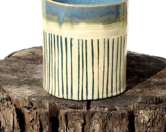 handbuilt ceramic vase in blue and white glaze, simply form, home decor, flowerpot, housewarmin gift ooak hand formed, unique design, pot