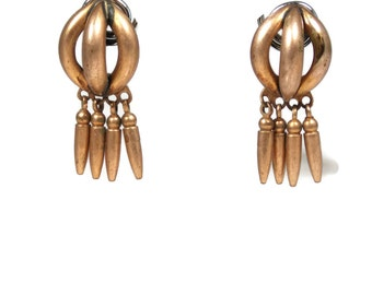 Vintage Fringed Copper Screw Back Dangle Earrings