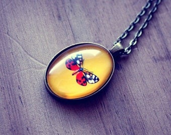 Moth Necklace Moth Pendant Glass Tile Pendant Oval Pendant Necklace Glass Tile Necklace Long Pendant Necklace Insect Whimsical Yellow Red