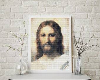 Mini Cross Stitch KIT, Printed CHART Jesus by Heinrich Hofmann