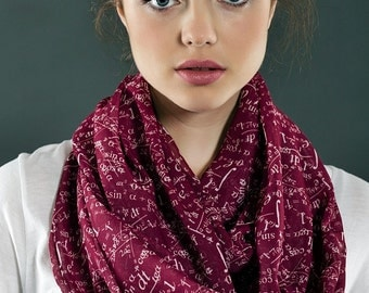Claret Red Mathematics Pattern Infinity Scarf Print Scarf Long Scarf Women Fashion Accessories Spring Summer Fall Winter Scarf Gift for her