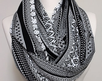 Black Tribal Ethnic pattern Infinity scarf, Circle scarf, scarves, spring - fall - winter - summer fashion