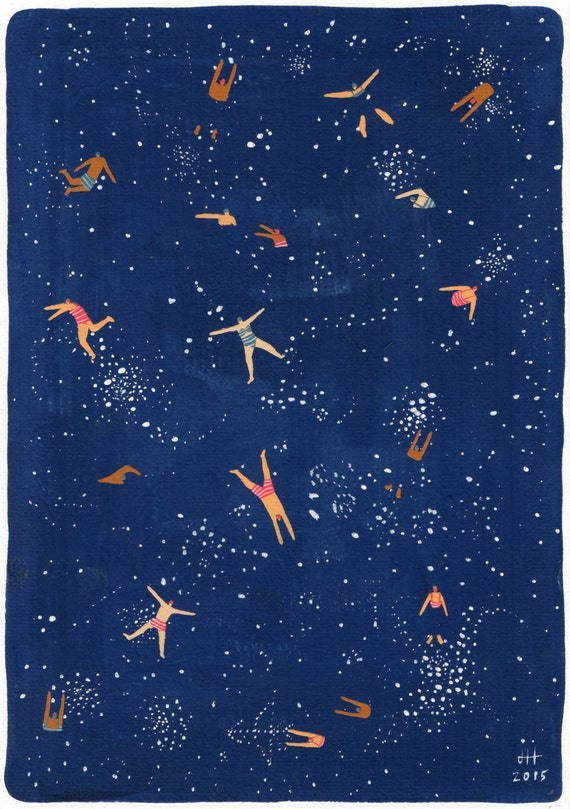 "Art print of original Gouache painting - ""Sky swim"""