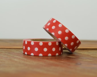 Washi Tape Red with White Polka Dots 15mm, Red and White Spots, Supplies