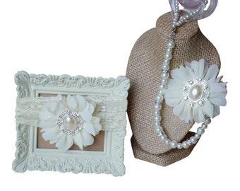 Alexis Flower in Ivory: 4-in-1 Beaded Pacifier Holder & Headband Set