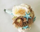 Beach Wedding Bridal Bouquet- Sea Star Bridal Bouquet- Wedding Bouquet- Bridal Bouquet-Rustic Beach Bouquet