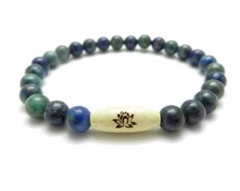 Namaste Healing Mala Bracelet,Yoga Jewelry,Lotus Spiritual Chrysocolla Wrist Mala,Meditation Bracelet,Gemstone Mala,Birthday Gift For Her