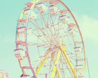 Ferris Wheel - Carnival Photography - Fair Print Vintage - Retro Carnival -  Baby Room - Child Room - Fun Fair Photo - Blue Teal Art Decor