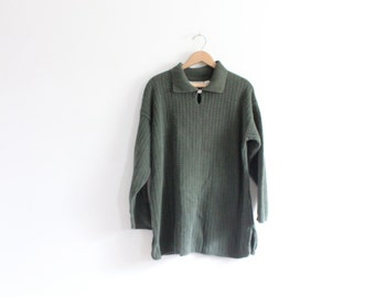 Slouchy Green 90s Ribbed Sweater