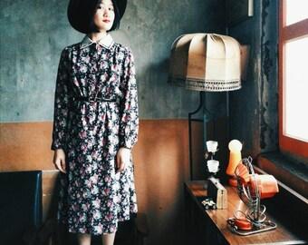 Black flora dress