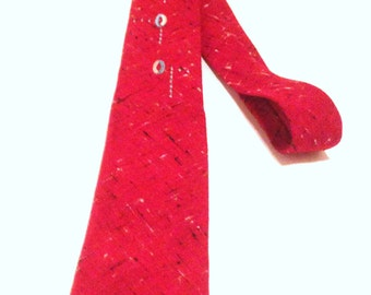 Vintage Square End Necktie Vintage Skinny Necktie Red Chambray Necktie Mid Century Modern Men's Fashion Retro 1950s 1960s Vintage Accessory