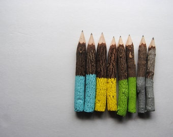"""CIRCUS TENT >> Eight 5"""" Dipped Graphite Rustic Twig Pencils - Grey Yellow Green Blue"""