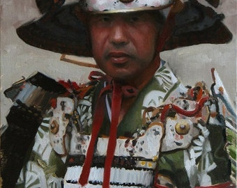 Samurai - original oil painting on  33cm x 45cm linen canvas - japanese art