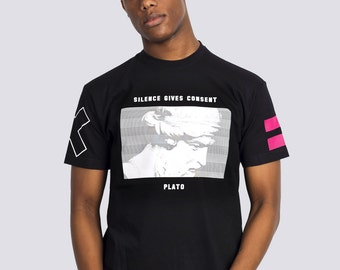 Silence Gives Consent - Plato Quote Black Graphic T-shirt by ALLRIOT
