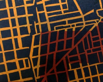 North of Downtown #3 linocut relief print with Chine-collé (Indianapolis series)